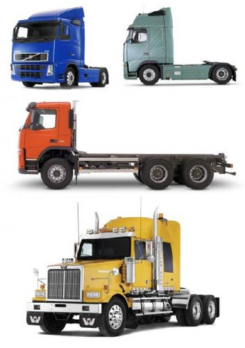 Trucks and tractors on a white background (the images)