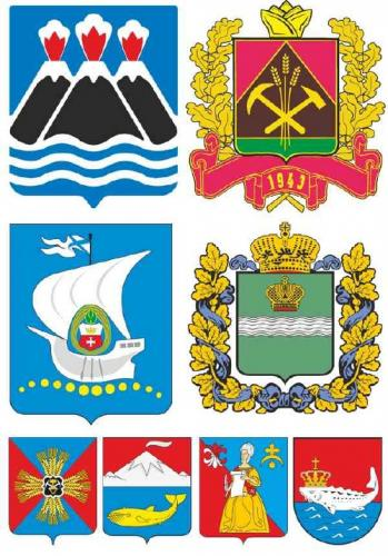 Coats of arms and flags : Kaliningrad , Kaluga , Kamchatka , Kemerovo regions (Russian Federation ) vector