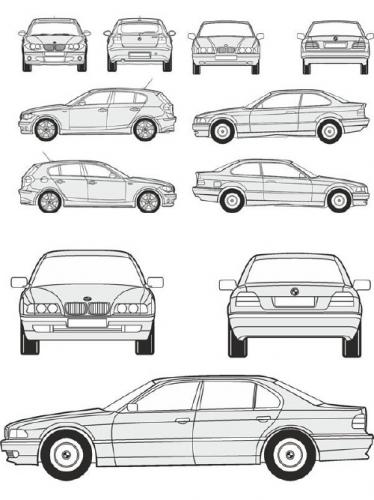 Cars BMW - vector drawing to scale