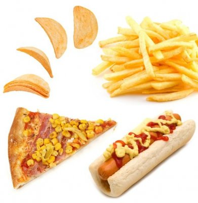 Fast food: pizza, hot dog, chips, french fries