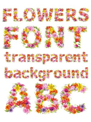 Alphabet: Flowers letters (transparent background)