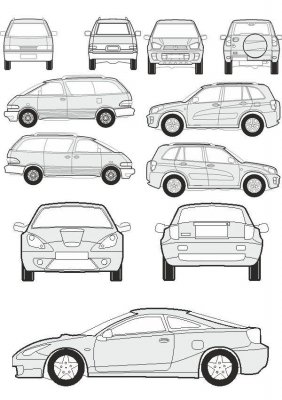 Cars Toyota - vector drawing to scale