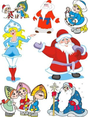 Russian Santa Claus and Snow Maiden (selection vector)