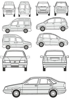 Cars Fiat - vector drawing to scale