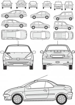 Cars Peugeot - vector drawing to scale