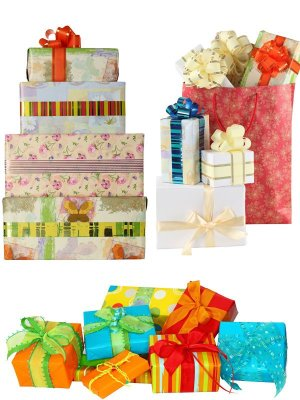 Boxes with gifts (collection of images)