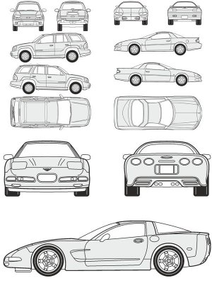Cars Chevrolet - vector drawing to scale