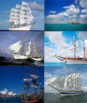 Photostock: sailboats, frigates, caravels and yachts (water transport)