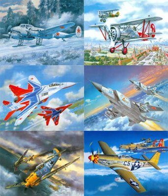 A selection of hand-drawn images of combat aircraft