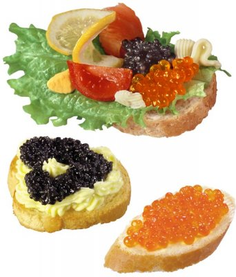 Photo stock: Sandwiches with red and black caviar