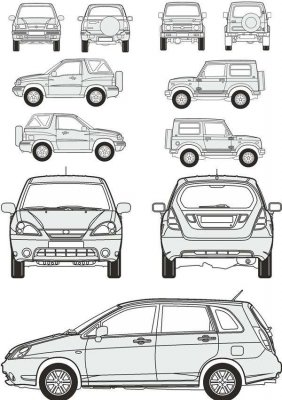 Cars Suzuki - vector drawing to scale