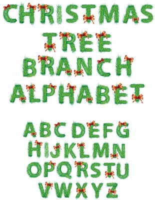 Alphabet: Christmas tree branches (transparent background)