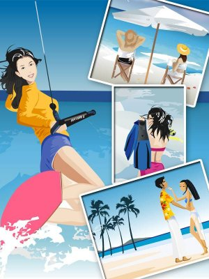 People on the beach in the vector (part two)