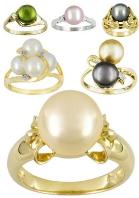 Jewelry: Rings decorated with pearls (collection of images)