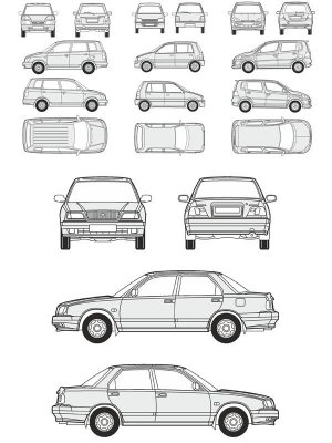 Cars Daihatsu - vector drawing to scale