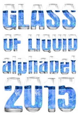 Alphabet: Glass with liquid, letters and numbers (transparent background)