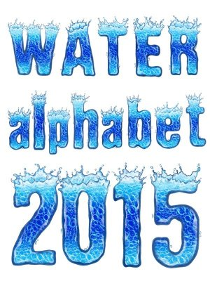 Alphabet: Water, letters and numbers (transparent background)