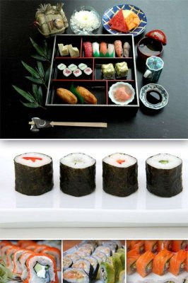 Japanese sushi and rolls (selected images)