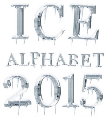 Alphabet: Ice and icicles, letters and numbers (transparent background)