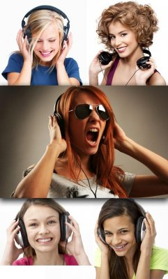 Girl with headphones (collection of images)