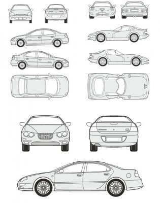 Cars Chrysler - vector drawing to scale