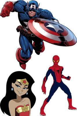 Superheroes: Captain America, Spider-Man, Wonder WOMAN (vector drawing)