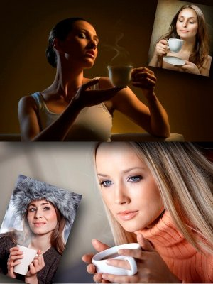 A girl and a cup of tea (collection of images)