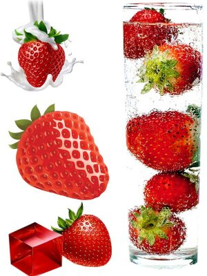 Berry photostock: painted strawberries
