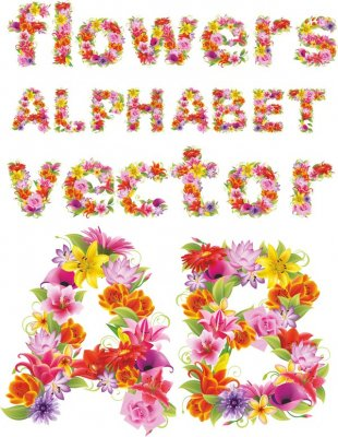 Alphabet vector: Beautiful flowers (uppercase and lowercase letters)