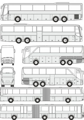 Buses Setra - vector drawing to scale
