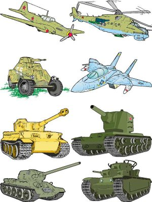 Military equipment (tanks, aircraft) in the vector