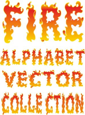 Alphabet vector: Fire flames