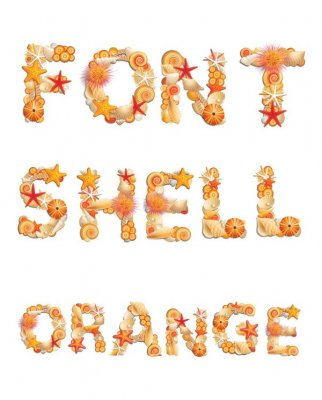 Alphabet: Shells orange (transparent background)