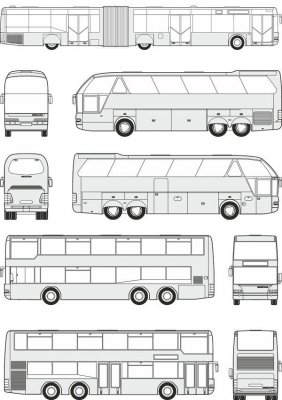Buses Neoplan - vector drawing to scale