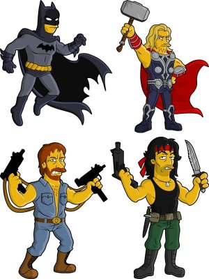 Characters in movies, games and comic books in the style of The Simpsons - vector stock