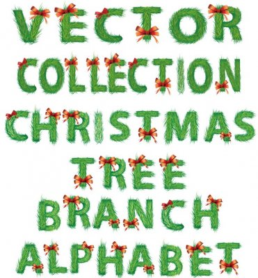 Vector collection christmas tree branch alphabet