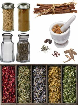 Spices (cinnamon, pepper, mustard, salt, nutmeg, etc.) - a selection of stock images