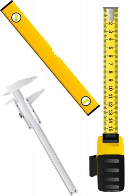 Measuring tools (tape measure, level, calipers, ruler) in the vector