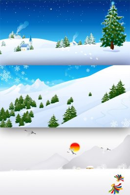 Winter and landscapes - Vector Stock