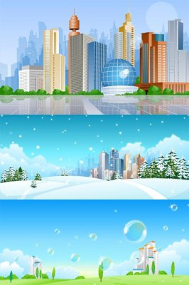 Cityscapes and landscapes - Vector Stock