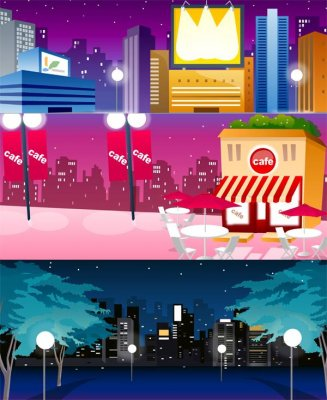 City: night views and landscapes - Vector Stock