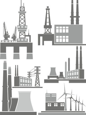 Industrial buildings and structures (vector)