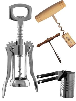Photo stock: corkscrew, bottle opener, can opener