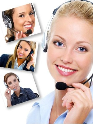 Call center girl with headset, helpdesk