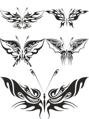 Tattoos in the form of butterflies (vector stock)