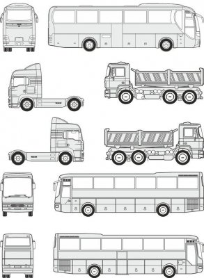 Cars MAN - vector drawing to scale
