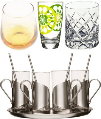 Glass and ceramic cups and glasses (the images)