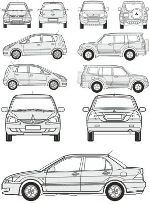 Cars Mitsubishi - vector drawing to scale