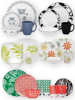 A set of dishes: plates, cups, bowls (transparent background)