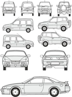 Cars Nissan - vector drawing to scale
